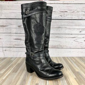 Frye Jane Strappy Heeled Black Leather Boots